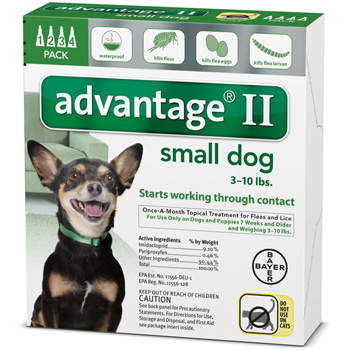 Bayer Advantage II Small Dogs Up 0-10 lb   4 Dose