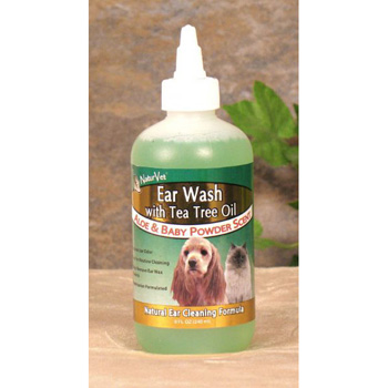 NaturVet Ear Wash Plus Tea Tree Oil for Dogs and Cats 8 oz