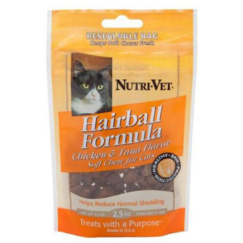 Nutri-Vet Hairball Formula Chicken and Tuna Flavor Soft Chews for Cats 3 oz