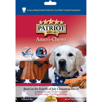 Patriot Born on the 4th of July Cinnamon Dental Chew