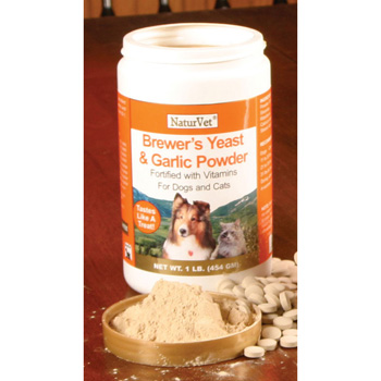 NaturVet Brewer's Dried Yeast Formula with Garlic Flavoring Plus Vitamins for Dogs and Cats, 1 lb Powder