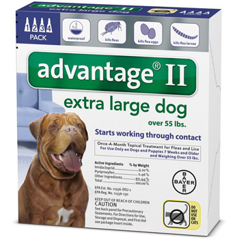 Bayer Advantage II Extra Large Dogs 55 lb & Over   4 Dose