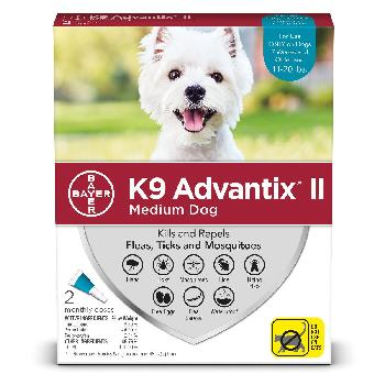 Bayer K9 Advantix II for Medium Dogs, 11-20 pounds, Flea, Tick and Mosquito, 2 doses