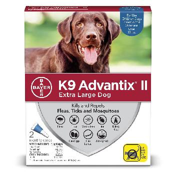 Bayer K9 Advantix II for Extra Large Dogs over 55 pounds, Flea, Tick and Mosquito, 2 doses