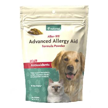 NaturVet Aller-911 Skin and Coat Plus Advanced Allergy Aid Formula Powder for Dogs and Cats, 9 ounces
