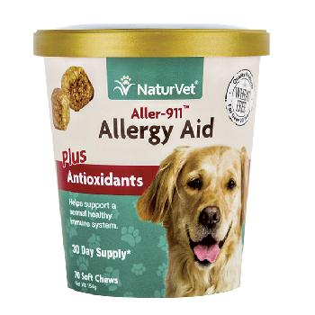 NaturVet Aller-911 Allergy Aid Plus Antioxidants Soft Chews for Dogs and Cats, 70 count