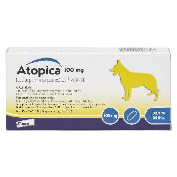 Rx Atopica (cyclosporine capsules) for Dogs 33-64 pounds, 100 mg, 15 count