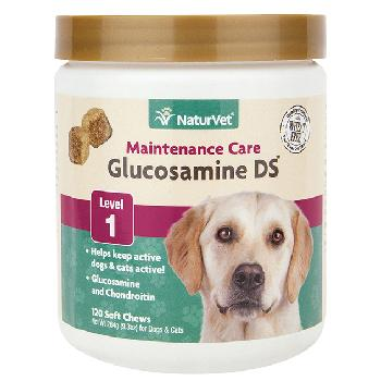 NaturVet Glucosamine DS Soft Chews, Level 1 Maintenance Care for Dogs and Cats, 120 count