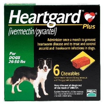 Rx Heartgard Plus for Dogs (ivermectin/pyrantel), 26-50 lbs, 6 chewables