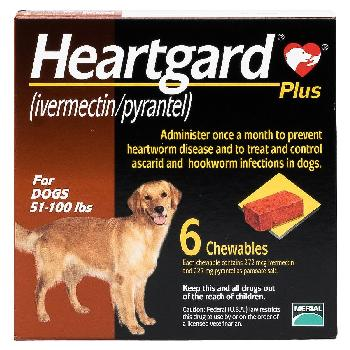 Rx Heartgard Plus for Dogs (ivermectin/pyrantel), 51-100 lbs, 6 chewables
