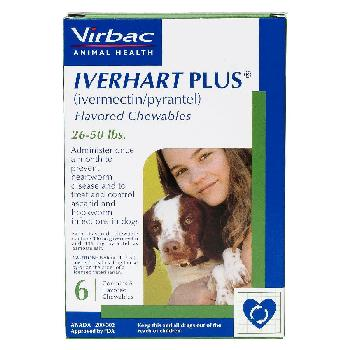 Rx Iverhart Plus (ivermectin/pyrantel) Flavored Chewables for Medium Dogs, 26-50 pounds, 6 doses