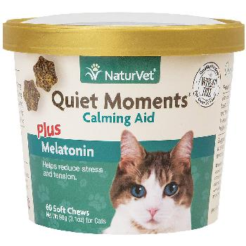 NaturVet Quiet Moments Cat Soft Chews Plus Melatonin, 60 count