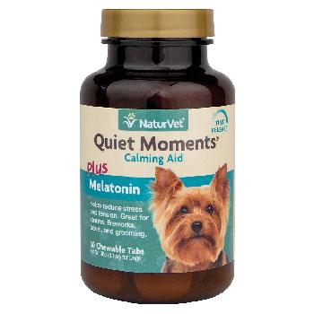 NaturVet Quiet Moments Calming Aid Tablets Plus Melatonin for Dogs, 30 count