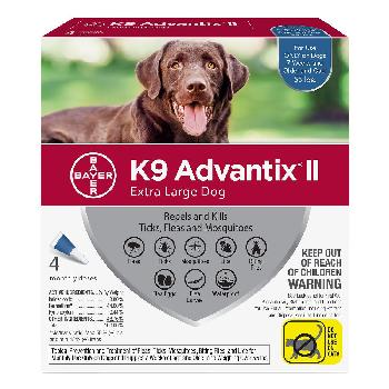 Bayer K9 Advantix II for Extra Large Dogs over 55 pounds, Flea, Tick and Mosquito, 4 doses