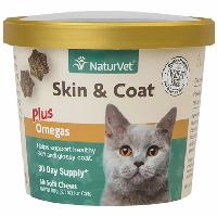 NaturVet® Skin & Coat Plus Omegas for Cats 60 ct Soft Chews