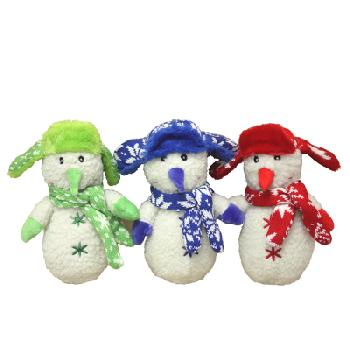 Multipet Snowman with Fleece Scarf Squeaker Toy, 7.5 Inches