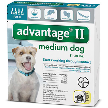 Bayer Advantage II Medium Dogs 11-20 lb   4 Dose