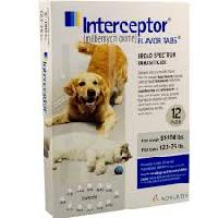 Rx Interceptor White 6 x 23 mg for Dogs 51-100 lb  Cats 12.1 -25 lb   6 Dose