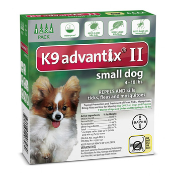 K9 Advantix II  Small Dogs 4-10 lb  4 Dose