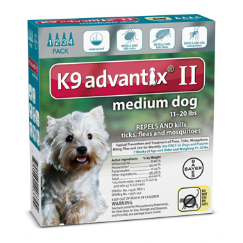 K9 Advantix II  Medium Dogs 11-20 lb  4 Dose