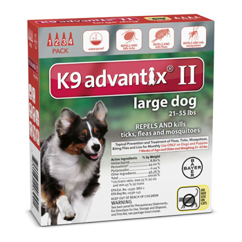 K9 Advantix II  Large Dogs 21-55 lb  4 Dose
