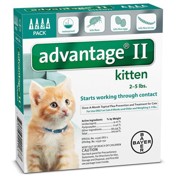Bayer Advantage II Kittens 2-5 lb  4 Dose