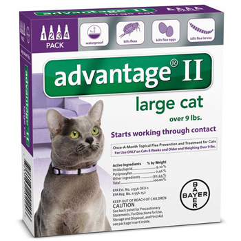 Bayer Advantage II Topical Flea Control Cats 9 lb & Over   4 Dose