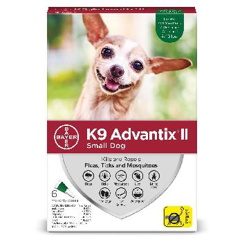 Bayer K9 Advantix II for Small Dogs 4-10 pounds, Flea, Tick and Mosquito, 6 doses