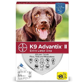 Bayer K9 Advantix II for Extra Large Dogs over 55 pounds, Flea, Tick and Mosquito, 6 doses