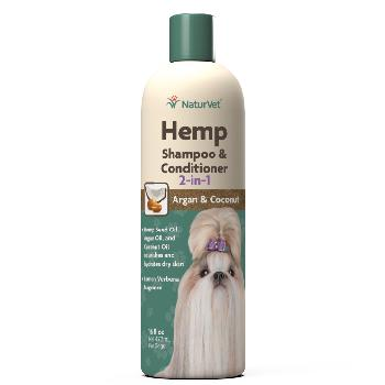 NaturVet Hemp 2-in-1 Dog Shampoo and Conditioner with Argan and Coconut, 16 oz