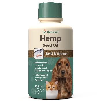 NaturVet Hemp Seed, Krill and Salmon Oil, Dog and Cat Supplement, 16 oz