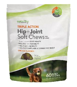 Vetality Triple Action Hip and Joint Soft Chews for Dogs 60 count