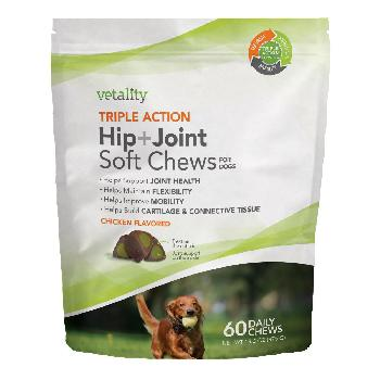 Vetality Triple Action Hip+Joint Soft Chews for Dogs 60 count