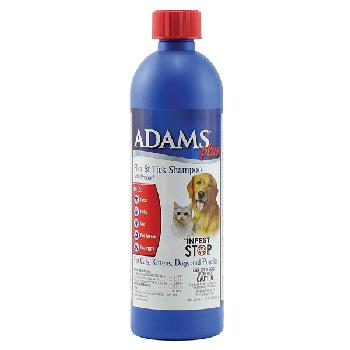Adams Plus Flea and Tick Shampoo with Precor for Cats and Dogs, 12 ounces