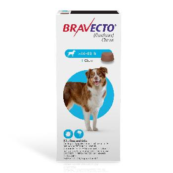 Bravecto Chews (fluralaner) Flea and Tick Treatment for Dogs by Merck, 44-88 lbs, 1000 mg, 1 ct