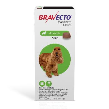 Bravecto Chews (fluralaner) Flea and Tick Treatment for Dogs by Merck, 22-44 lbs, 500 mg, 1 ct