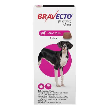 Bravecto Chews (fluralaner) Flea and Tick Treatment for Dogs by Merck, 88-123 lbs, 1400 mg, 1 ct