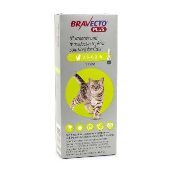 Bravecto Plus for Cats, 2.6-6.2 lbs, 112.5 mg, 1 treatment (Green Box)