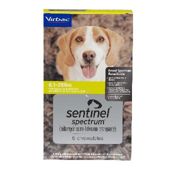 Sentinel Spectrum Chews (milbemycin oxime/lufenuron/praziquantel) for Small Dogs, 8-25 pounds, 6 doses