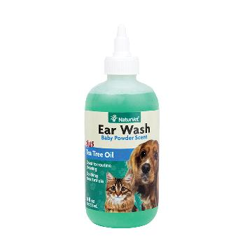 NaturVet Ear Wash Liquid Plus Tea Tree Oil for Dogs and Cats, 8 ounces