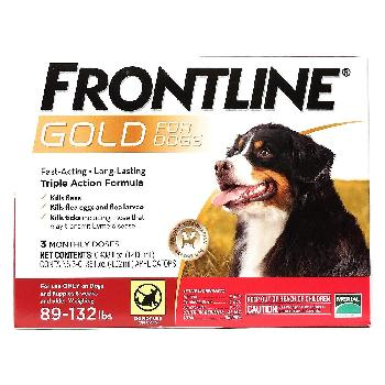 Frontline Gold for Dogs, 89-132 pounds, 3 doses