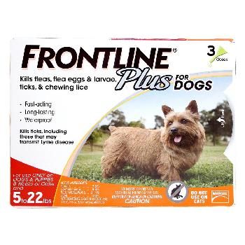 Frontline Plus for Dogs, 0-22 pounds, 3 doses