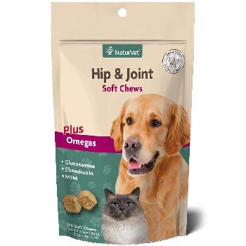 NaturVet Hip & Joint Soft Chews Plus Omegas for Dogs and Cats 11 oz