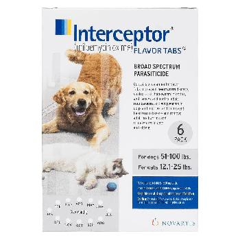 Interceptor Tablets for Dogs 51-100 lbs & Cats 12.1-25 lbs, 6 treatments, 23 mg Milbemycin Oxime