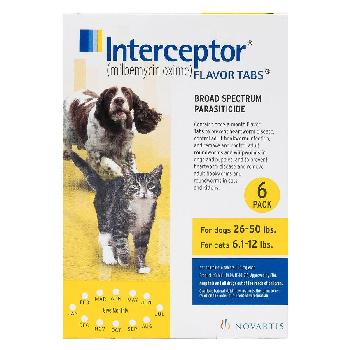 Interceptor Tablets for Dogs 26-50 lbs & Cats 6.1-12 lbs, 6 treatments, 11.5 mg Milbemycin Oxime