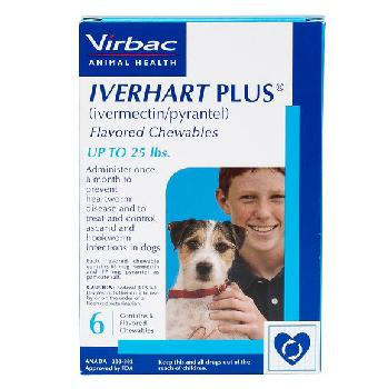 Iverhart Plus (ivermectin/pyrantel) Flavored Chewables for Small Dogs up to 25 pounds, 6 doses