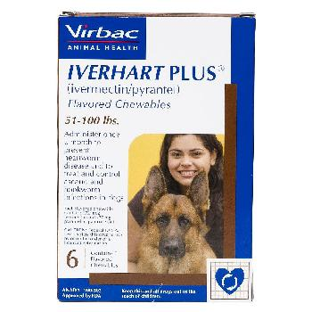 Iverhart Plus (ivermectin/pyrantel) Flavored Chewables for Large Dogs, 51-100 pounds, 6 doses