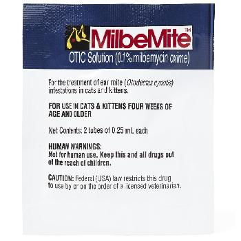 MilbeMite OTIC Solution (0.1%milbemycin oxime), .25 ml per tube, 2 count