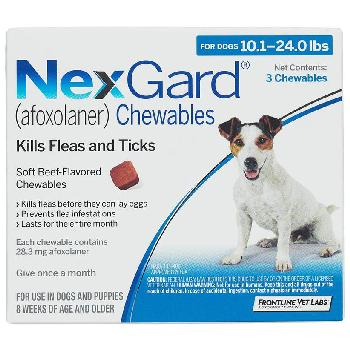NexGard Chewable Tablets for Dogs, 10.1-24 lbs, 3 treatments, 28.3 mg Afoxolaner