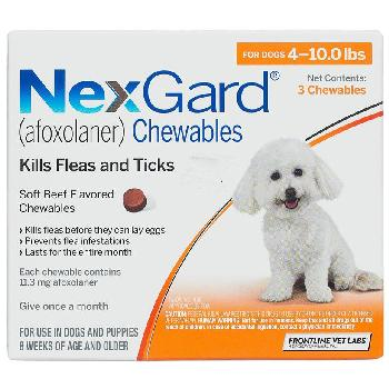 NexGard Chewable Tablets for Dogs, 4-10 lbs, 3 treatments, 11.3 mg Afoxolaner